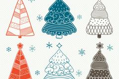 6款彩绘圣诞树设计矢量素材