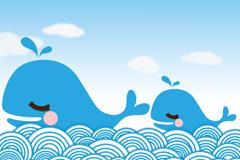 两只蓝色卡通鲸鱼矢量素材