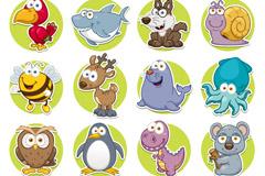 16款卡通圆形动物图标矢量素材