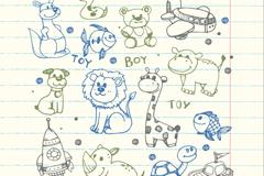 14款彩绘男孩动物玩具矢量素材