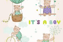 4款彩绘泰迪熊矢量素材