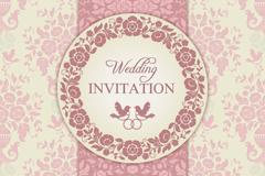 粉色花卉婚礼邀请卡矢量素材