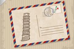 比萨斜塔明信片矢量素材