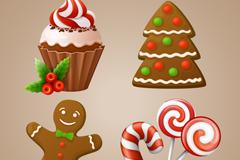 4款圣诞蛋糕甜品矢量素材