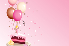 彩色气球与生日蛋糕矢量素材