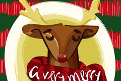 围围巾的圣诞驯鹿矢量素材