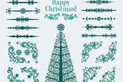 绿色花纹圣诞树与花边矢量素材