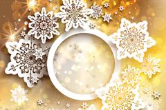 白色纸雪花金色卡片矢量素材