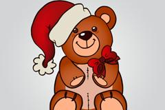 戴圣诞帽的玩具熊矢量素材