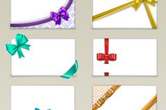 6款蝴蝶结丝带装饰卡片矢量素材