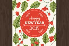 槲寄生新年贺卡矢量素材