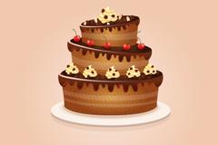 巧克力生日蛋糕矢量素材