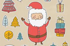 卡通圣诞老人与礼盒矢量素材