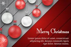 圣诞吊球条纹木背景矢量素材