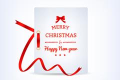 精致红丝带圣诞卡矢量素材