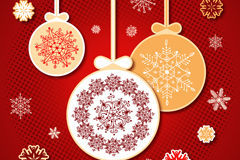 精致纸质圣诞吊球矢量素材