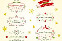 6款圣诞艺术字标签矢量素材