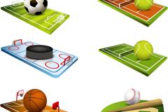 6款球与球场设计矢量素材