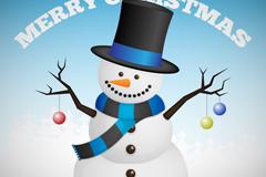 戴礼帽的圣诞雪人矢量素材