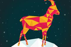 2015雪地山羊矢量素材