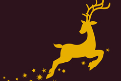 金色奔腾麋鹿设计矢量素材