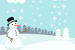 白色雪原圣诞雪人矢量素材