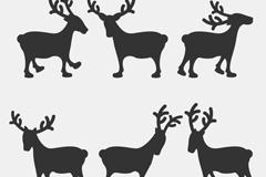 6款麋鹿剪影矢量素材