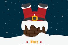 钻烟囱的圣诞老人矢量素材图片