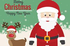 圣诞老人与驯鹿鲁道夫矢量素材