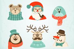 6款卡通圣诞角色矢量素材