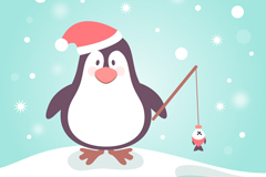 卡通钓鱼企鹅矢量素材
