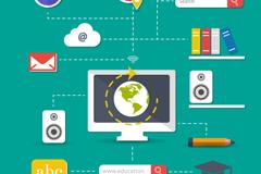 网络教育元素标签矢量素材