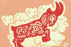 红色山羊剪纸矢量素材