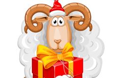 卡通抱礼盒的绵羊矢量素材