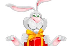 抱礼盒的长耳兔子矢量素材