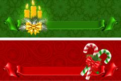2款精美圣诞丝带banner矢量素材