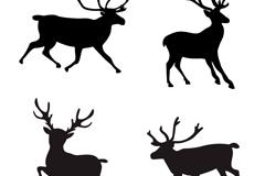 4款美丽麋鹿剪影矢量素材