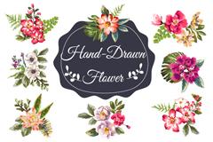 8款手绘花朵设计矢量素材