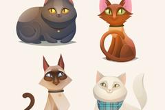 4款卡通猫咪设计矢量素材