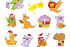 10款卡通圣诞动物矢量素材