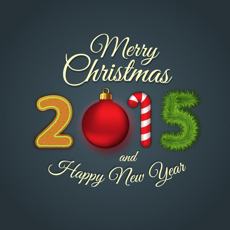 创意圣诞新年艺术字矢量素材图片