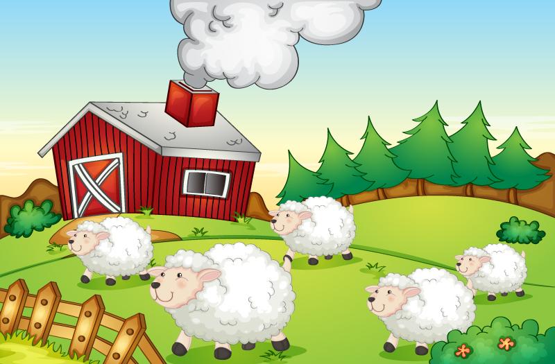 卡通农场绵羊群矢量素材