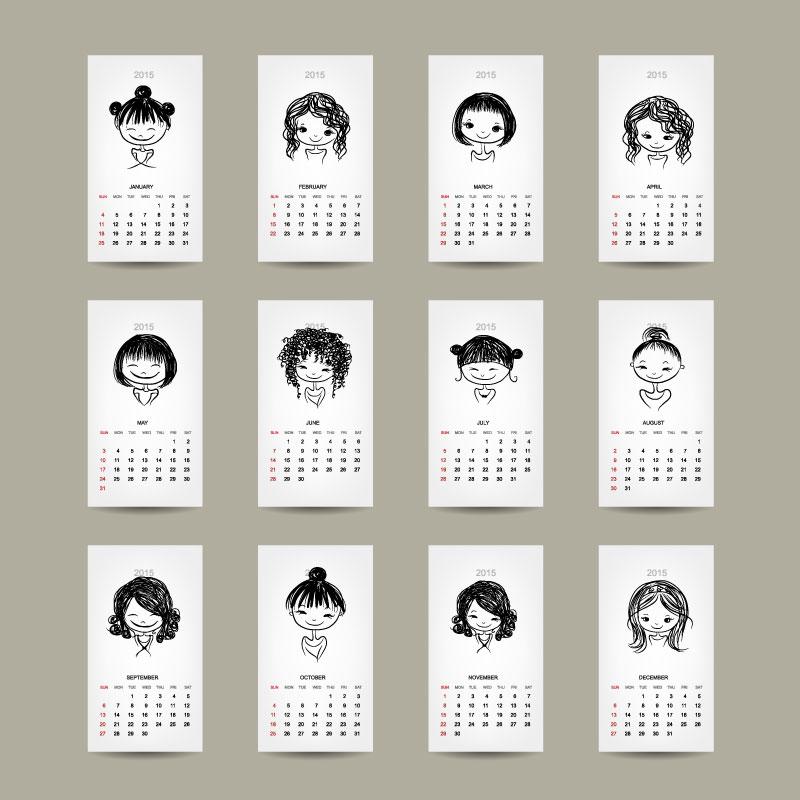 ai格式,含jpg预览图,关键字:2015年,女孩,卡片,年历,日历,手绘,头像图片