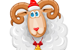 卡通圣诞绵羊矢量素材