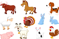 15款卡通家畜动物矢量素材