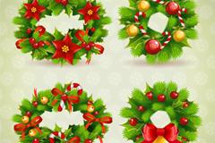 4款精美圣诞花环矢量素材