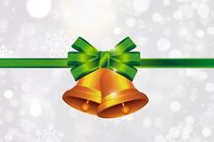 精美绿丝带圣诞铃铛矢量素材