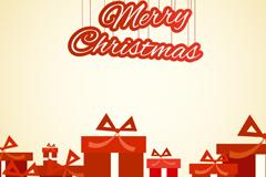 红色圣诞礼盒贺卡矢量素材