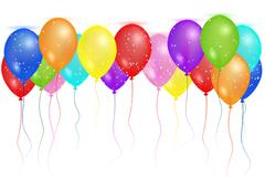 彩色气球生日卡矢量素材