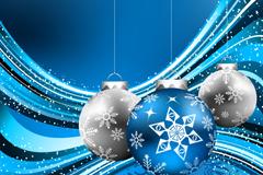 精致蓝色圣诞吊球矢量素材